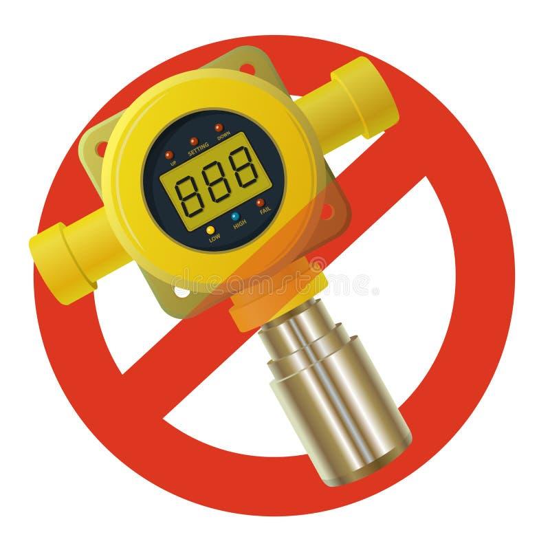 Prohibicja benzynowy detektor Surowy zakaz na budować żółty benzynowy metr z cyfrowym LCD pokazem, zakazuje ilustracji