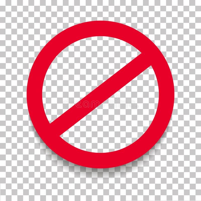Prohibicja drogowy znak z cieniem Ograniczenie, ograniczenie wektoru znak royalty ilustracja
