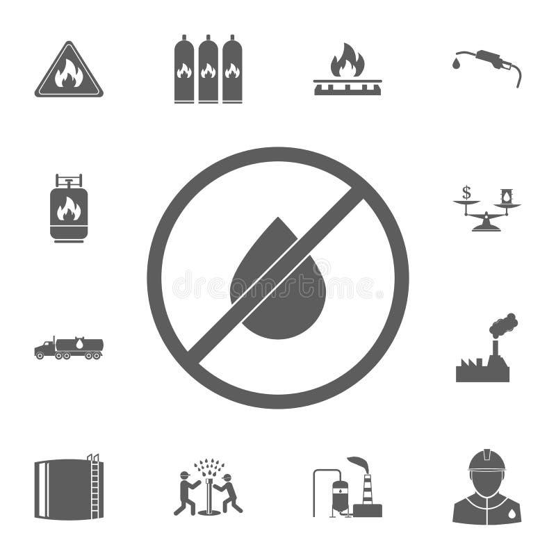 prohibicja na produkci ropy naftowej ikonie Szczegółowy set Nafciane ikony Premii ilości graficznego projekta znak Jeden inkasowe royalty ilustracja