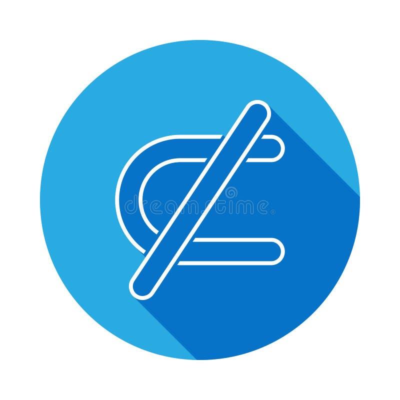 prohibicja powrotna ikona z długim cieniem Cienka kreskowa ikona dla strona internetowa projekta i rozwoju, app rozwój Premii iko ilustracji