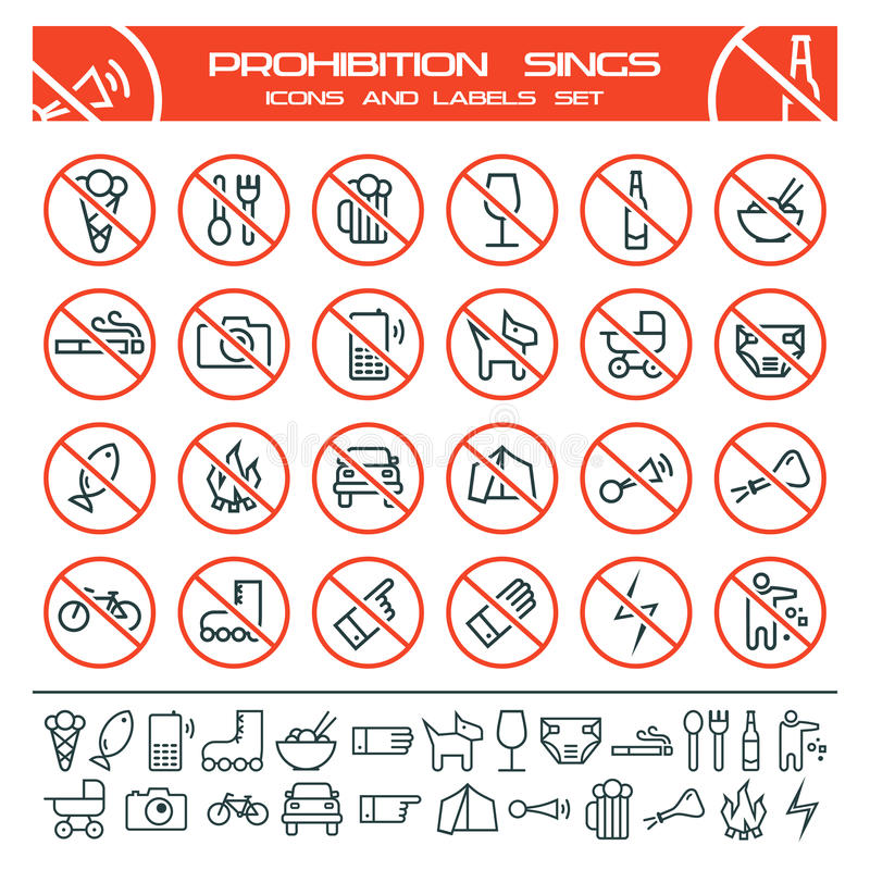 Prohibicja znaki ilustracja wektor