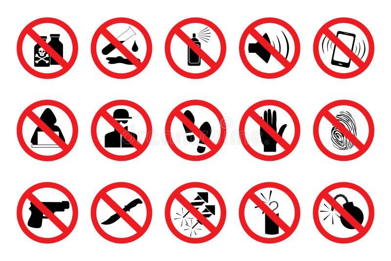 Prohibicja znaki E wektor royalty ilustracja