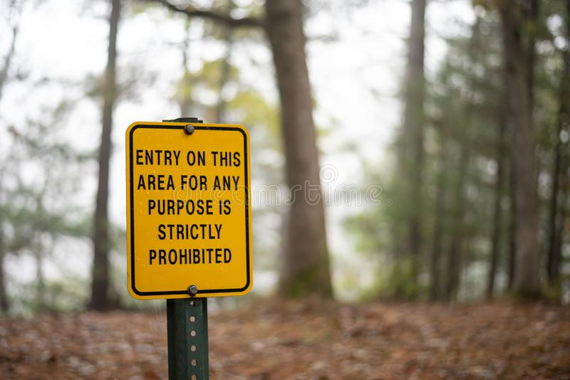 Prohibited entry sign post in Wisconsin State Park royalty free stock images