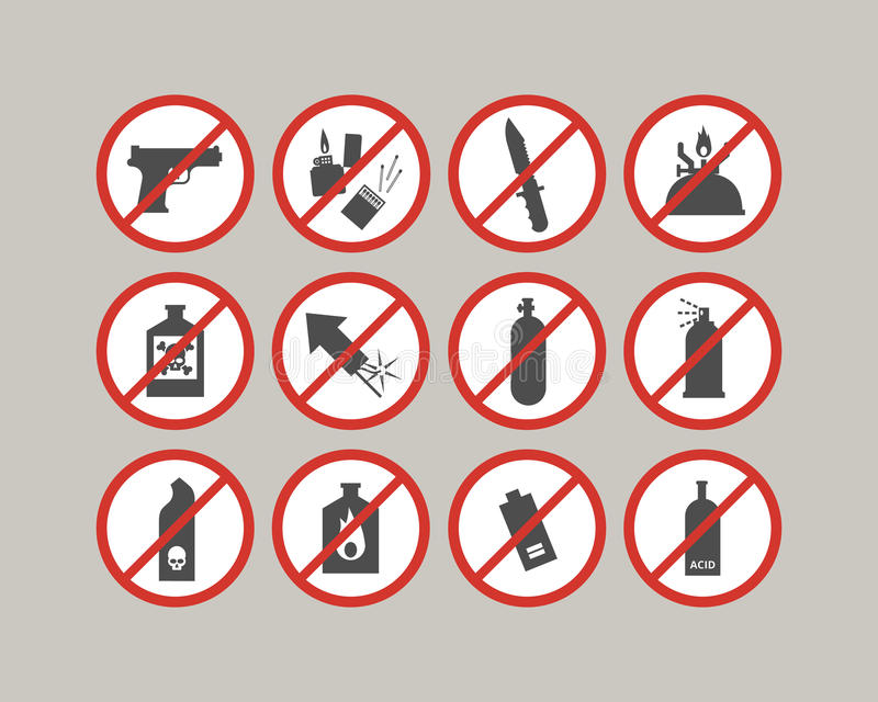 Prohibited luggage items. Airport restrictions. Dangerous stuff for airplane. Vector icons collection stock illustration