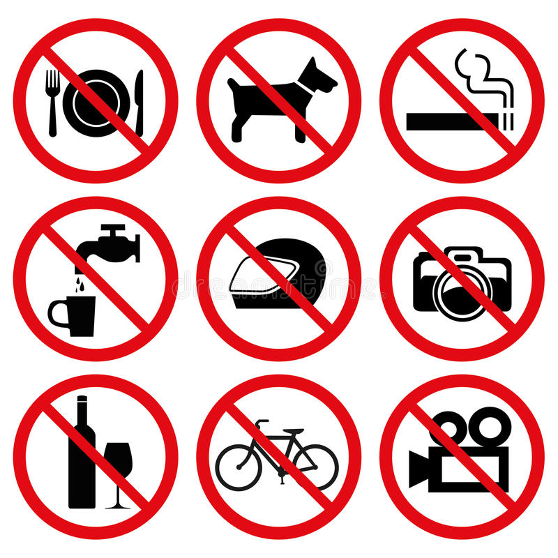 Prohibited No Stop Signs. Prohibiting signs set, 9 general icons stock illustration