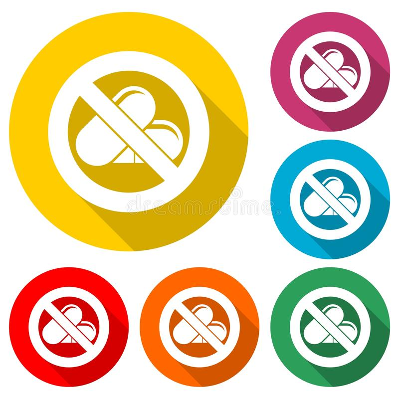 Prohibited sign capsules drugs isolated icon, No pills, No drug, color icon with long shadow royalty free illustration