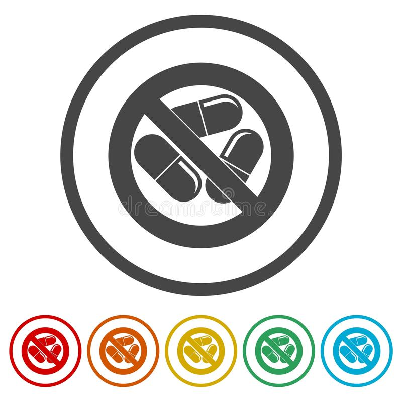 Prohibited sign capsules drugs isolated icon, No pills, No drug, 6 Colors Included stock illustration