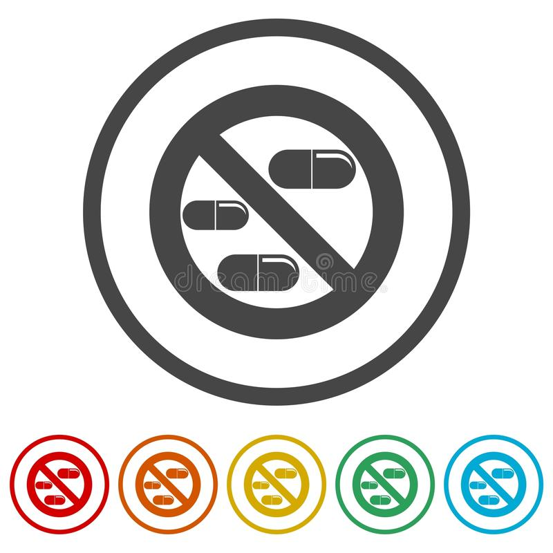 Prohibited sign capsules drugs isolated icon, No pills, No drug, 6 Colors Included vector illustration