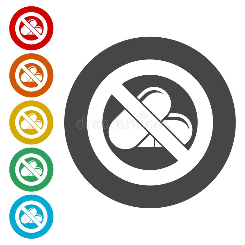 Prohibited sign capsules drugs isolated icon, No pills, No drug vector illustration