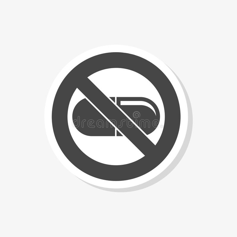 Prohibited sign capsules drugs isolated sticker, No pills, No drug, simple icon royalty free illustration