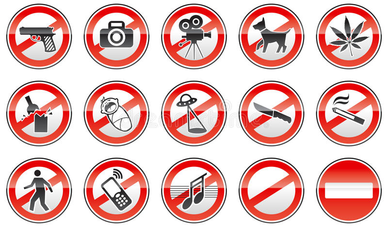 Prohibited signs vector illustration