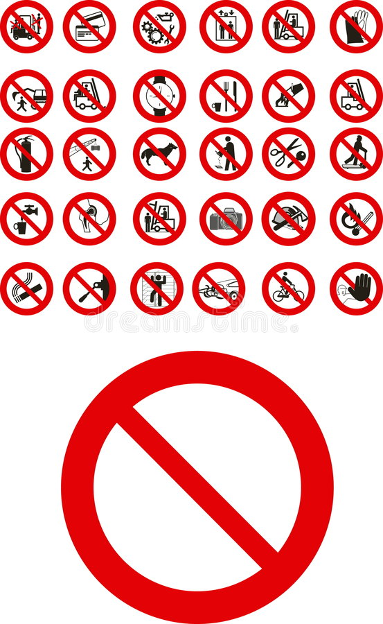 Prohibited signs. Abstracy vector public prohibited signs stock illustration
