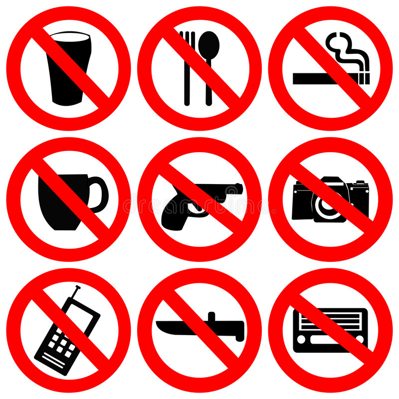 Prohibited signs illustration. Prohibited signs no drinking smoking and weapons illustration vector illustration
