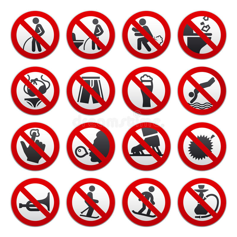 Prohibited signs. Vector illustration. This is file of EPS8 format royalty free illustration