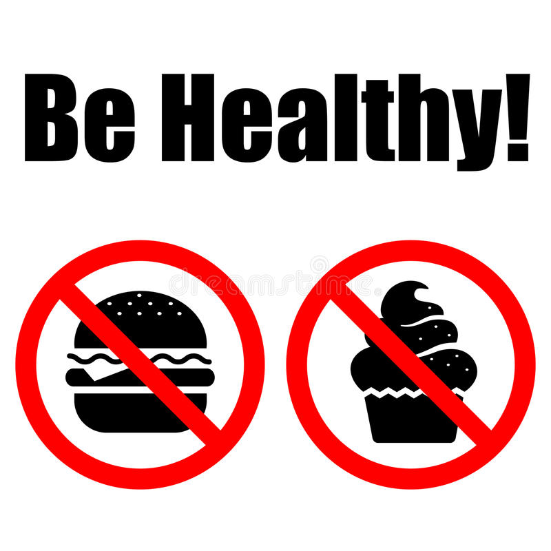 Download Prohibited Symbols Food. Lettering Be Healthy Stock Vector - Image: 21874541