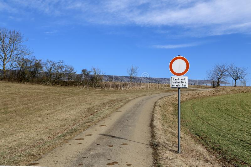 Prohibiting road sign. / Text: `Agricultural vehicles only royalty free stock photography