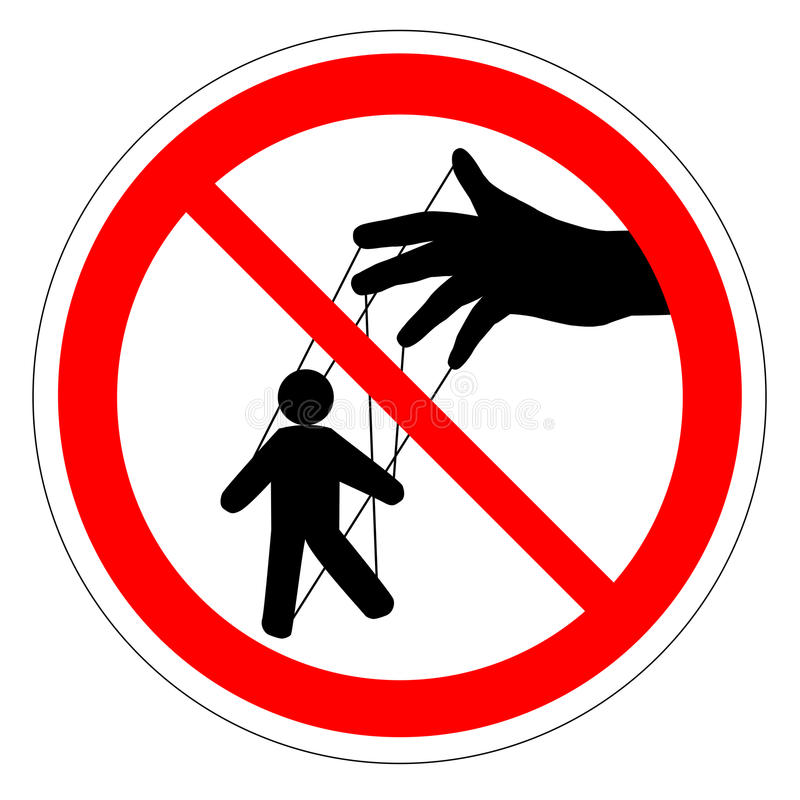 Prohibiting round road sign. Manager. Puppet show. Puppeteer puppet. stock illustration