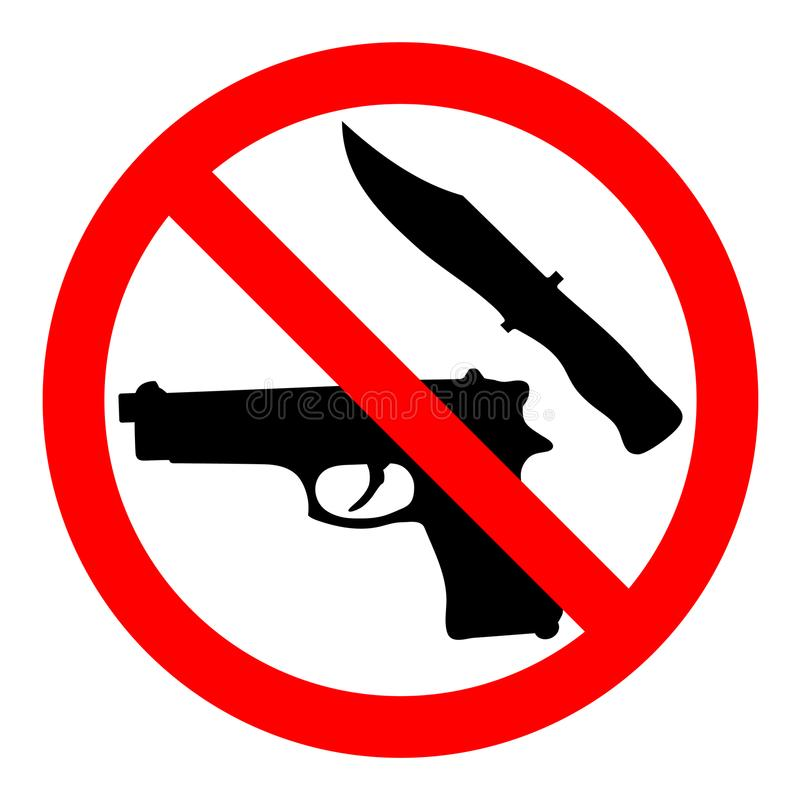 Weapon prohibited icon. Forbidding vector sign `No weapons` with gun and knife. stock photos