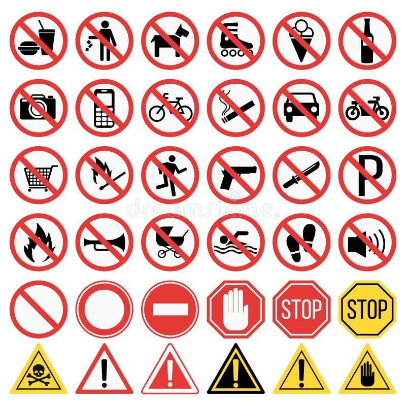 prohibiting signs set illustration vector illustration