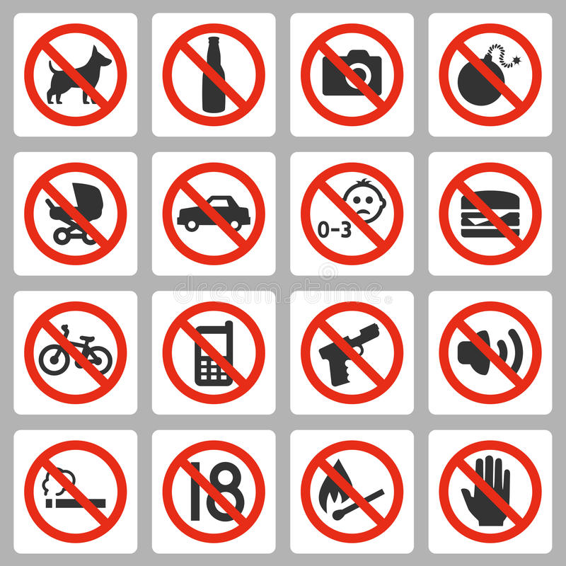 Prohibiting signs vector icons vector illustration