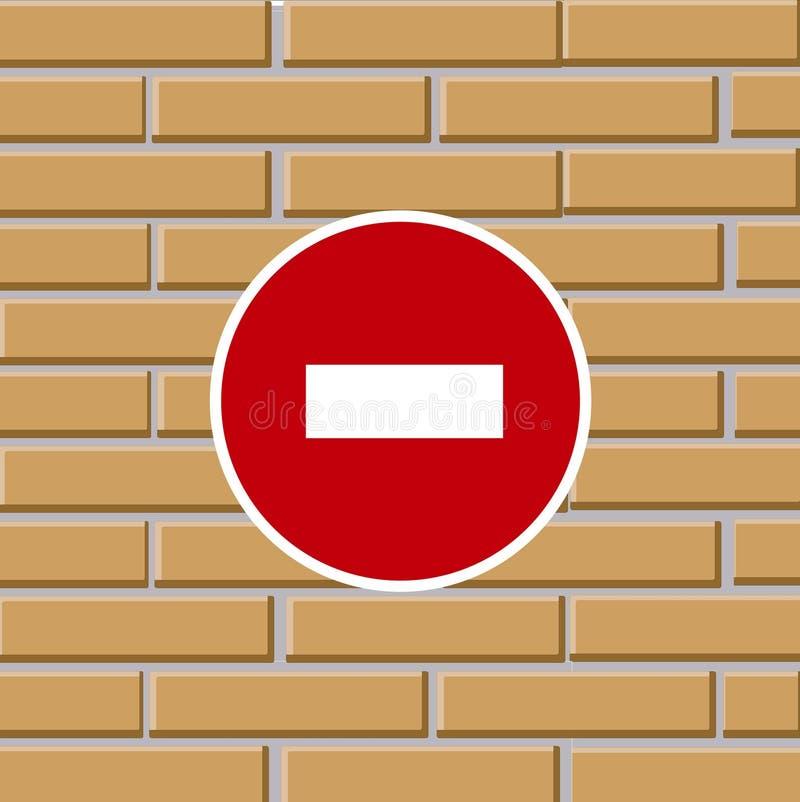 Prohibiting Traffic Sign On Brick Wall Royalty Free Stock Photos