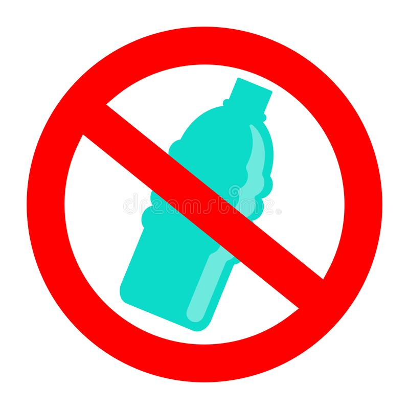 Prohibition or ban sign. Plastic Free concept, stop using plastic vector illustration. Prohibition or ban sign with disposable blue plastic bottle. Plastic Free stock illustration