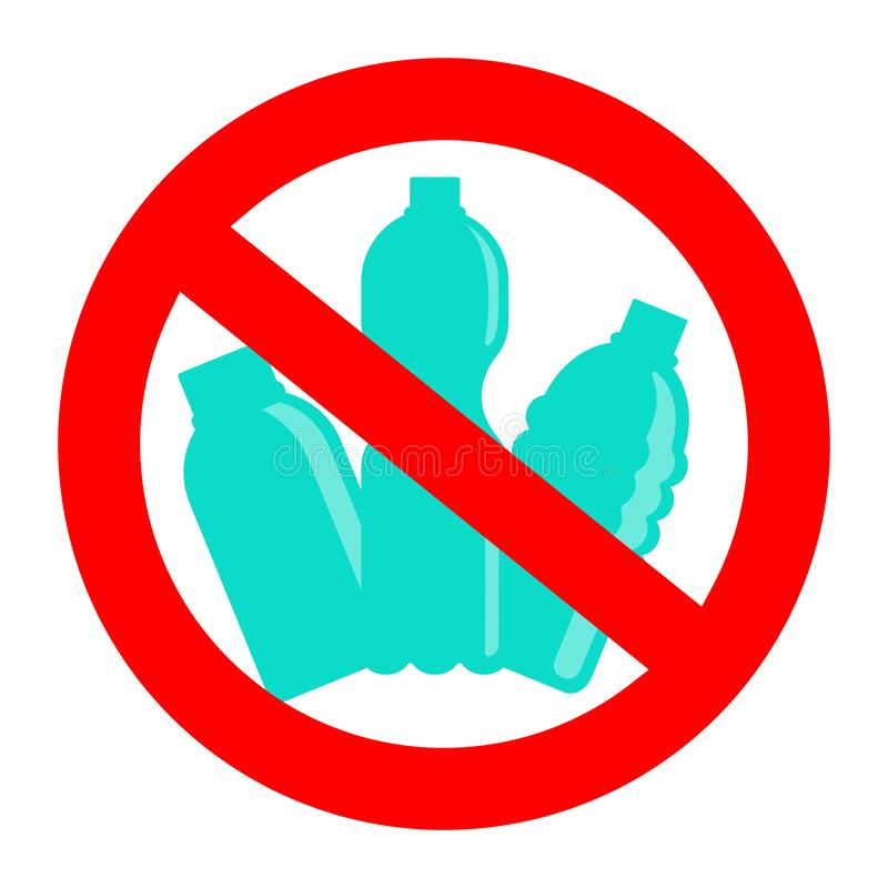 Prohibition or ban sign. Plastic Free concept, stop using plastic vector illustration. Prohibition or ban sign with disposable blue plastic bottles. Plastic Free vector illustration