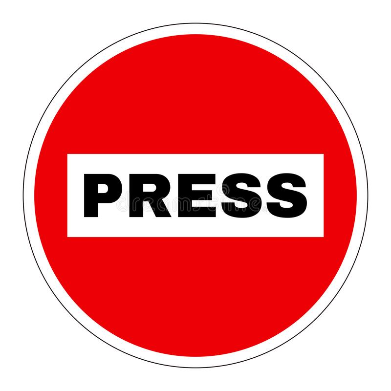 Prohibition or ban sign. Red round sign with the word Press. Press prohibition or ban sign. Red round sign with the word Press prohibiting entry to journalists stock illustration
