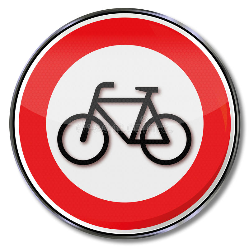 Prohibition for bikes. And cyclists stock illustration