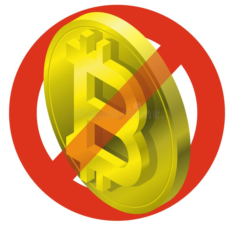 Prohibition of bitcoin coin, symbol. Cryptocurrency strict ban sign. Caution of virtual digital currency, internet investing. royalty free illustration