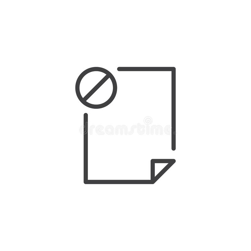 Prohibition file document outline icon. Linear style sign for mobile concept and web design. Not allowed file simple line vector icon. Symbol, logo stock illustration