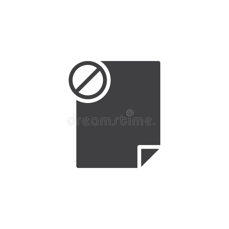Prohibition file document vector icon. Filled flat sign for mobile concept and web design. Not allowed file simple solid icon. Symbol, logo illustration. Pixel stock illustration