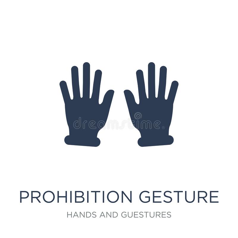 Prohibition gesture icon. Trendy flat vector Prohibition gesture. Icon on white background from Hands and guestures collection, vector illustration can be use stock illustration