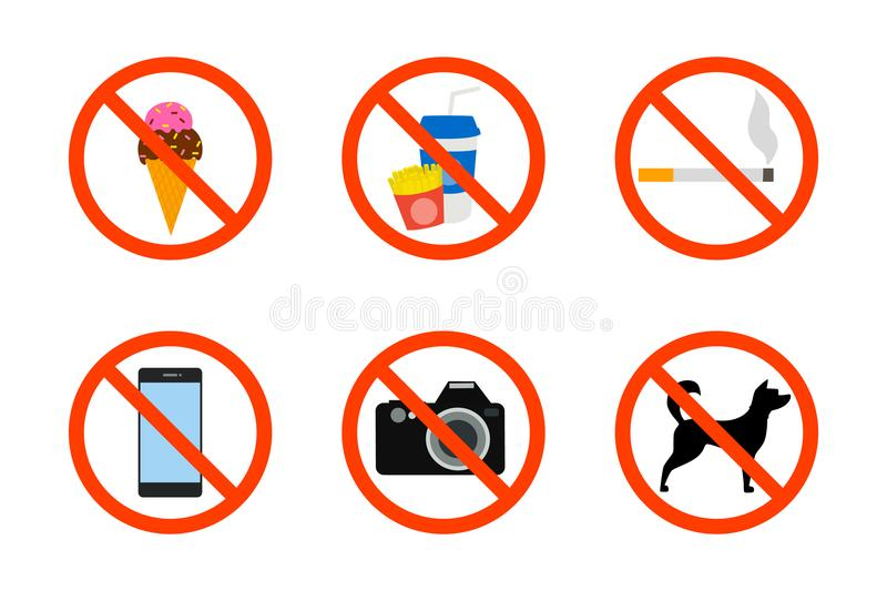 Prohibited icon set royalty free illustration