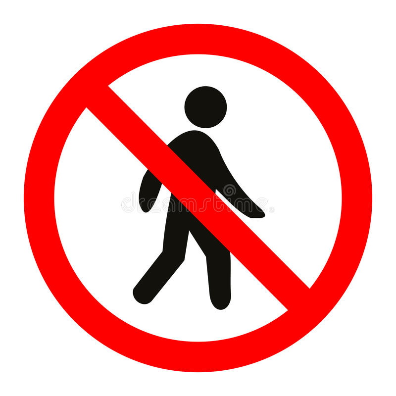 Prohibition No Pedestrain Sign Vector. Great for any use royalty free illustration