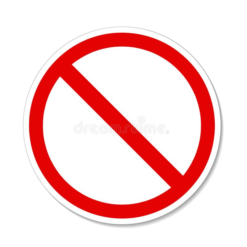 Prohibition no symbol Red round stop warning sign Template Isolated. Flat design. Eps 10 vector illustration