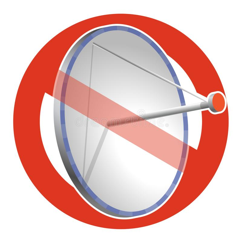 Prohibition of satellite dish. Strict ban on construction of transmission aerial, forbid. Stop telephone and television signals. Vector communication antenna vector illustration