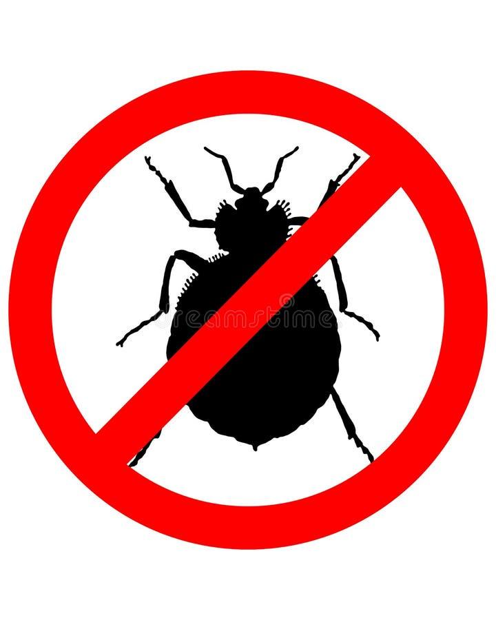 Prohibition sign for bedbugs. On white background stock illustration