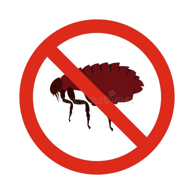Prohibition sign fleas icon, flat style. Prohibition sign fleas icon in flat style isolated on white background. Warning symbol royalty free illustration