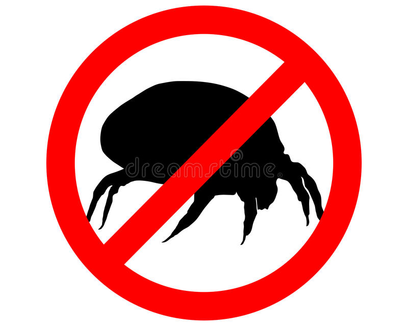 Prohibition sign for house dust mites. The illustration of a prohibition sign for house dust mites royalty free illustration