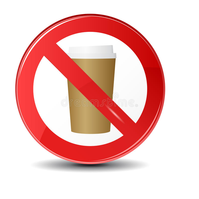 Prohibition sign icon.No drink hot coffee or tea. stock photo