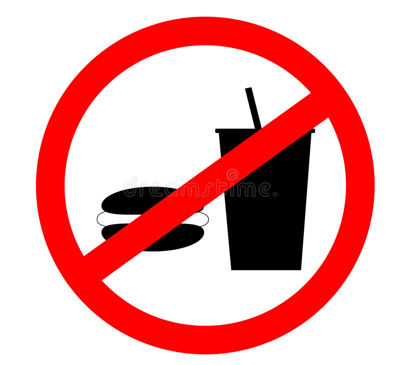 Prohibition sign icon.No eating and no drinks allowed isolated on white background. royalty free stock photos