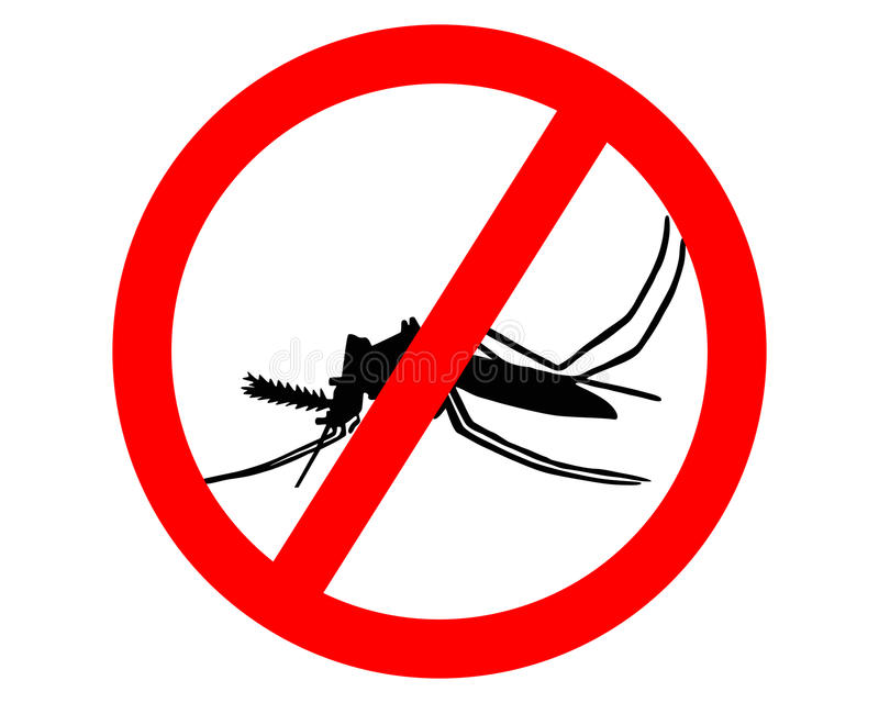 Prohibition sign for mosquitos. On white background vector illustration
