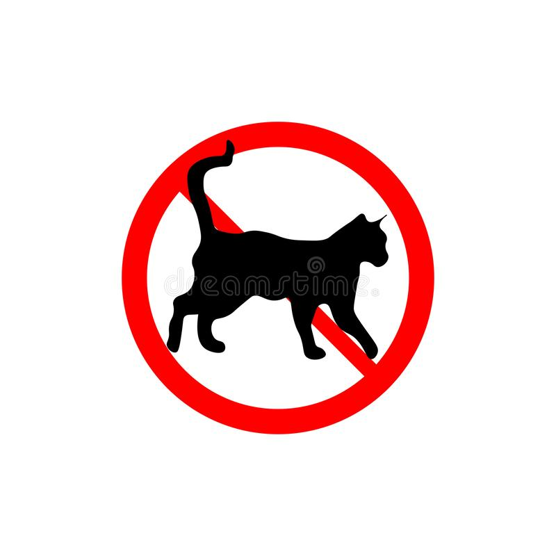 Prohibition sign no cats royalty free illustration