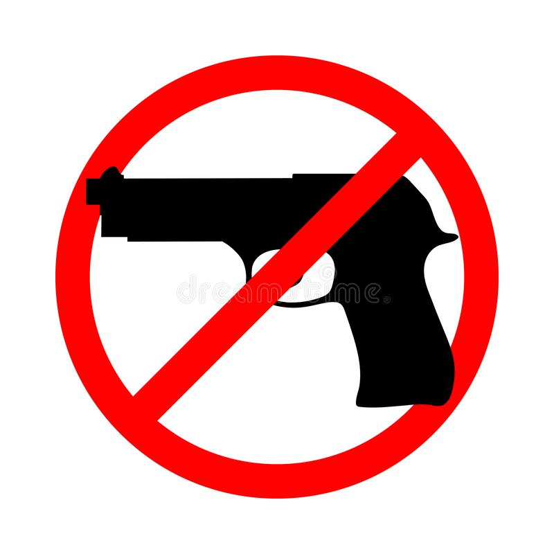 No guns. Prohibition sign. Symbol or sign stop guns. Gun in the red prohibition sign. Isolated icon on white background. Abstract vector illustration vector illustration