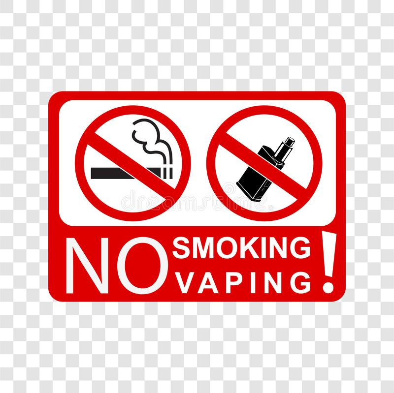Simple vector prohibition sign no smoking and vaping, at transparent effect background vector illustration