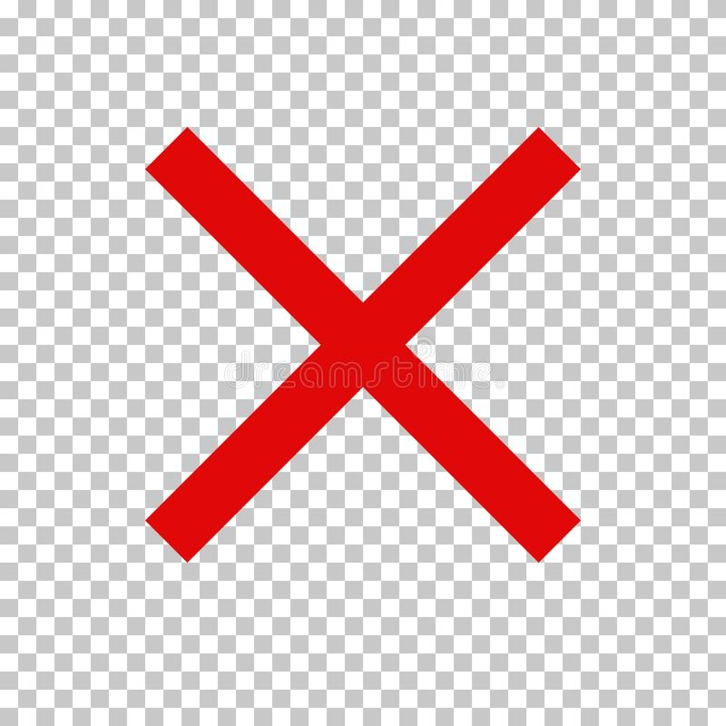 Prohibition Sign, No Symbol; Red Cross. Empty NO symbol, prohibition or forbidden sign; red cross. Vector icon isolated on transparent background royalty free illustration