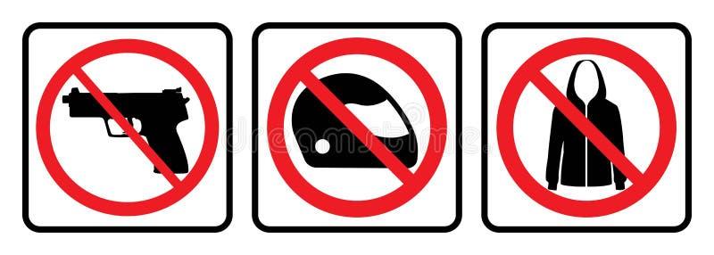 Prohibition sign. No weapon icon,No helmet icon,No Jacket icon-prohibition sign -Vector royalty free illustration