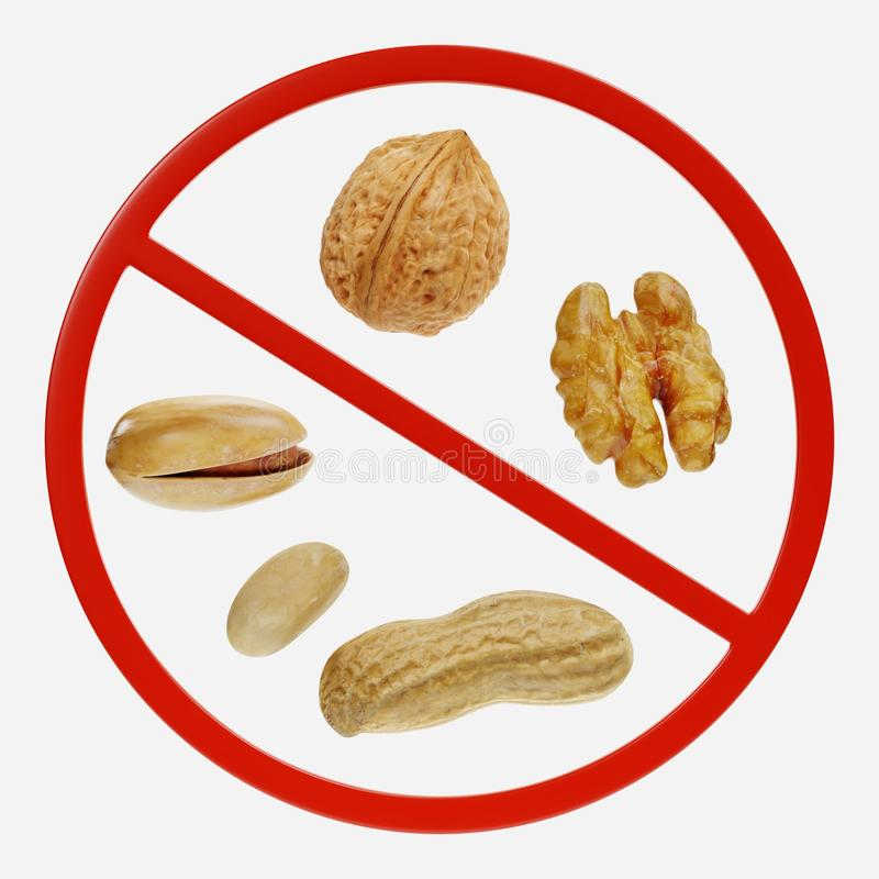 Prohibition Sign with Nuts. 3D Render of Prohibition Sign with Nuts stock illustration