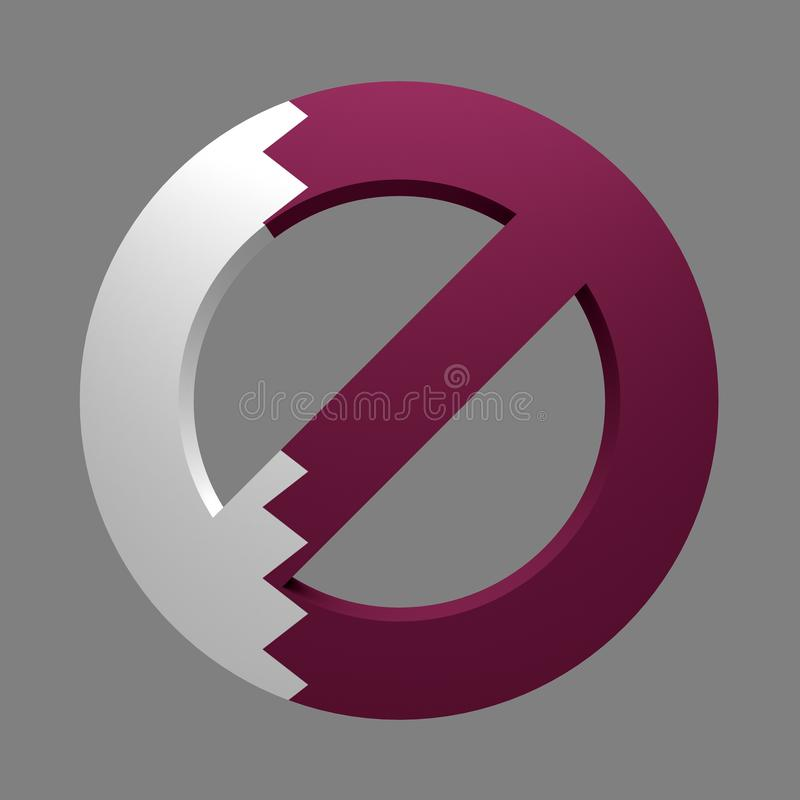 Prohibition sign painted flag of State of Qatar. Isolated on black. 3d rendering vector illustration